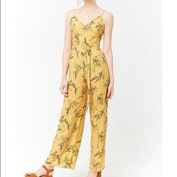 Forever 21 Pants Floral Yellow Cami Jumpsuit F21 Poshmark
